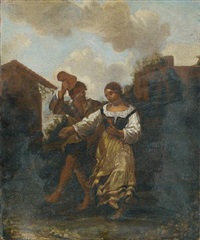 figures dancing before a country inn by dirk helmbreker