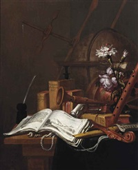 a vanitas still life with an illustrated book, shells, a string of pearls, musical instruments, a globe, books and flowers in a glass vase... by vincent laurensz van der vinne the elder
