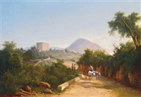 mountain street with figures by karoly marko the younger