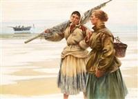 fiskarflickor i bretagne by august vilhelm nikolaus hagborg