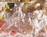 s.a.r. le roi hassan ii et le cortège royal accompagné de la garde noire by patrice laurioz