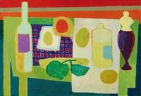 bouteille, fruits, pots sur une table by maurice estève