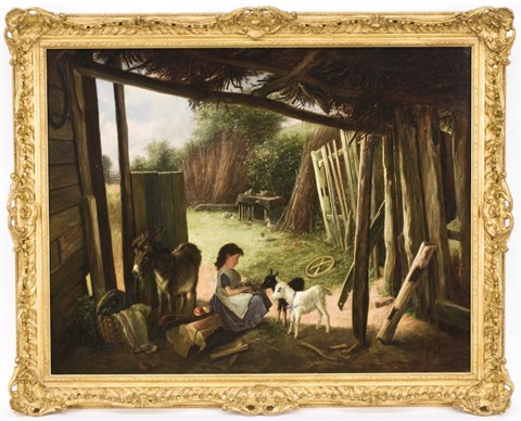 young girl in a barn feeding livestock by charles hunt