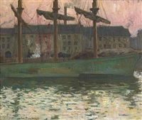 a fishing boat in a harbor at dusk by jean-pierre laurens