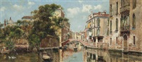 a gondolier before a venetian bridge by antonio maría de reyna manescau