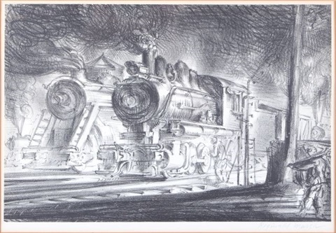 switch engines erie yards jersey city by reginald marsh