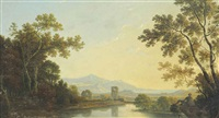 a extensive italianate river landscape, with classical ruins, possibly the bay of naples beyond by richard wilson