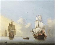 dutch men o'war in calm waters by francis swaine