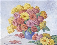 zinnias by birger sandzen
