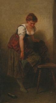 junge frau beim schuhe anziehen by wilhelm (the younger) rögge