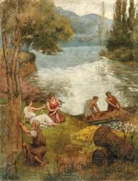 pêcheurs et jeunes femmes by ferdinand jacques humbert