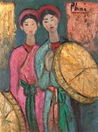 deux femmes aux ombrelles by bui xuan phai