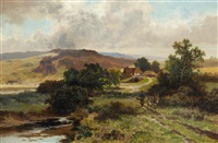 traveller and a donkey on a track before a farm, in a moorland landscape by leopold rivers