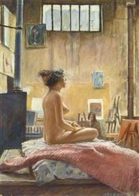 sitzender weiblicher akt im atelier by jurg kreienbuhl