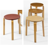 collections of four stools, model no.60 by alvar aalto