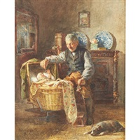 grandfather and his dog playing with baby by henricus johannes melis