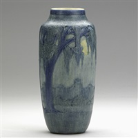 scenic vase with live oak, spanish moss, full moon by anna frances connor simpson