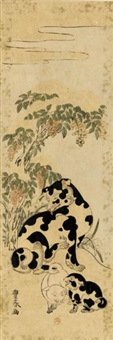 a piebald bitch and puppies beside a snow-laden shrub (hosoban) by toyoharu
