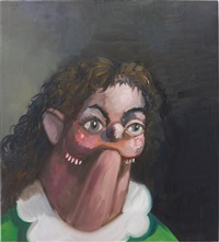 smiling young woman by george condo