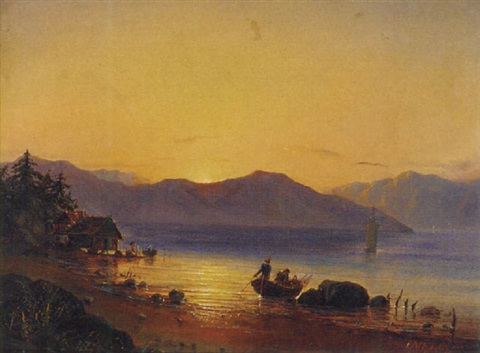 setting off from the shore at sunrise by fritz siegfried george melbye