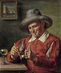 niederländischer pfeifenraucher bei einem glas wein by emil kuhlmann-reher