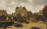 a market scene in a town square by sybrand van beest