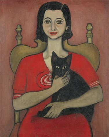 untitled woman with cat by alice neel