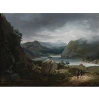 a view of loch lomond, scotland, with figures on a path in the foreground by jean bruno gassies