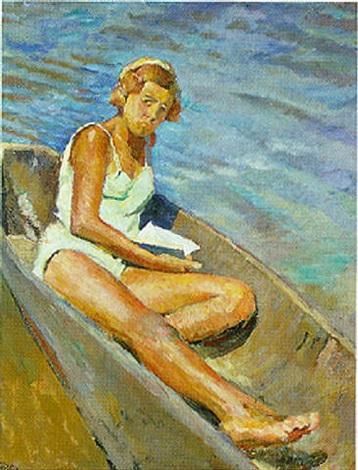 mädchen im ruderboot by igor pavlovitch ruban