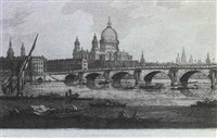 view of london bridge including the church of st. magnus and the monument view of blackfriars bridge ... by j.c. stadler