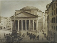 a procession passing the pantheon, rome by joseph langl