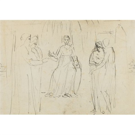 a woman enthroned two figures on each side by william blake