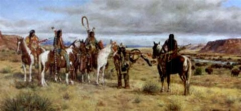 band of plains indians overlooking a herd of buffalo by hubert wackermann