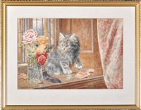 a kitten on a window shelf inspecting a vase of flowers by wilson hepple