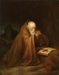 the hermits at prayer by gerrit dou