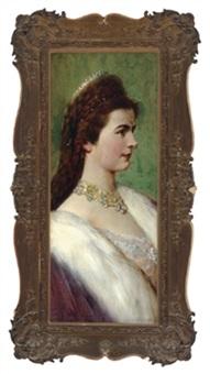 kaiserin elisabeth von österreich, porträt, die kaiserin im profil nach rechts blickend mit diademgeschmücktem haupt by rudolf hausleithner