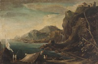 paesaggio costiero con pescatori by johannes lingelbach