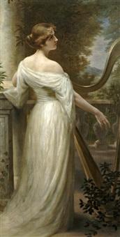 jeune fille à la harpe by marie-louise pichot