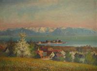 blick an einem frühlingstag auf schloß und kirche, wasserburg-malerwinkel am bodensee by franz löffler