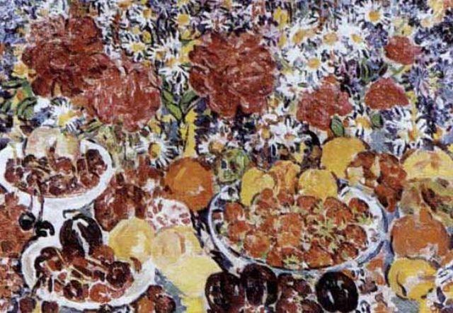 bleuets pivoines marguerites et fruits by rady rautovich yakubov