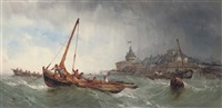 fishing vessels in a squall off saint malo, france by alfred herbert