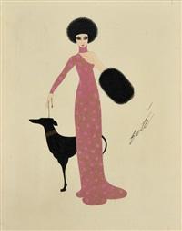 élégante en robe rose et dorée avec son lévrier by erté