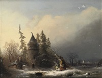 travellers in a winterlandscape by a small fort by anthon adrianus sem