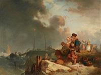 coastal landscape with a family of fishers by eugène modeste edmond le poitevin
