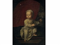 portrait de johann comte von globen, à l'âge de 6 mois et 11 jours le 7 août tenant un oiseau by hans hinrich rundt