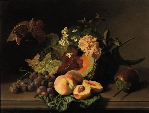 roses peaches grapes and other fruits and flowers on a ledge by david emile joseph de noter
