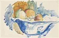 still life with fruit; and provençal landscape (2 works) by matthew smith