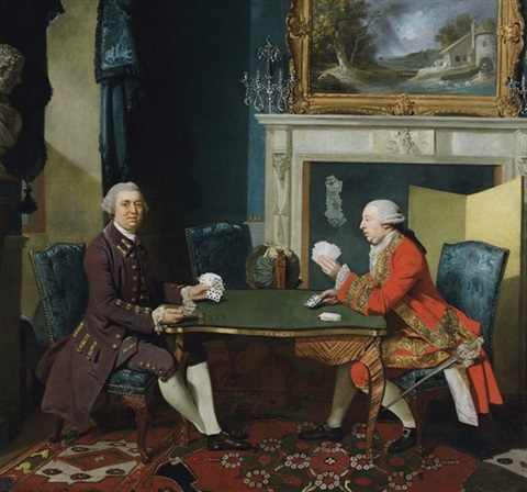 double portrait of two gentlemen playing cards in an interior by johann joseph zoffany