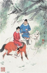二骑图 (riding horses) by gu bingxin