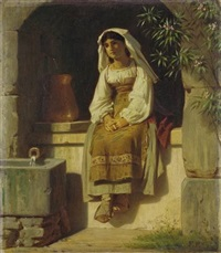 young italian woman at a fountain by ferdinand piloty the younger